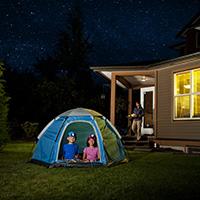 Children under a starry night